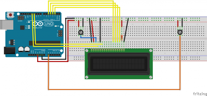 Bild zum Asnhcließen des LCDs an den Arduino